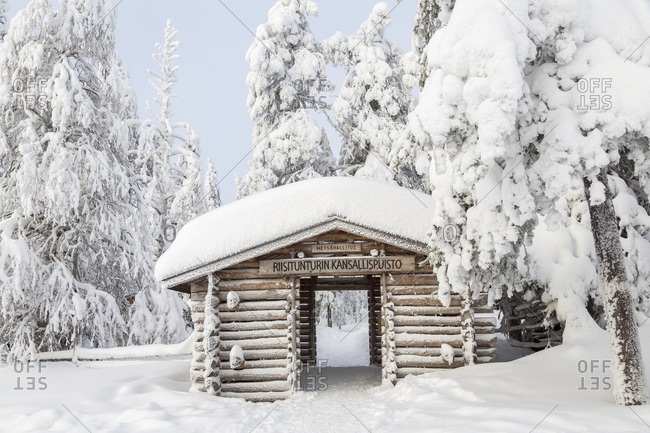The snow-covered entrance of Riisitunturi National Park, Lapland