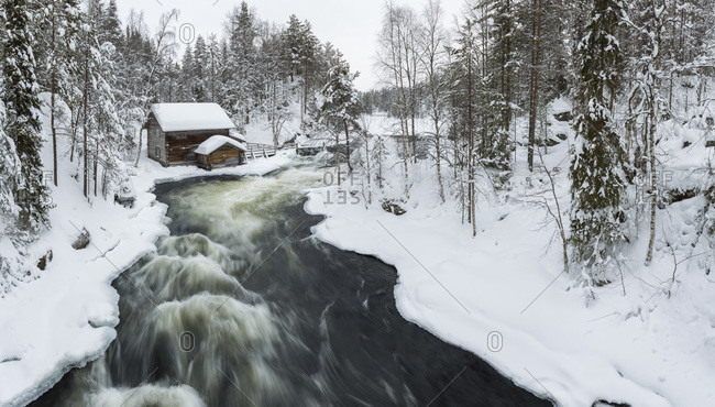 Old mill on the bank of the Myllykoski rapids, Lapland