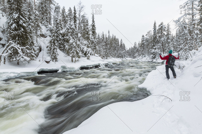 Person cheering on the bank of a rapid river in Oulankajoki National Park, Kuusamo, Finland