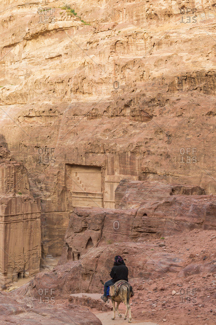 Arriving on donkey to city of Petra, Jordan
