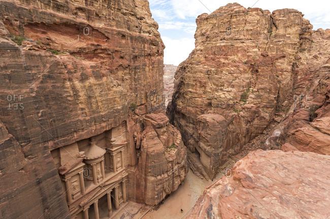 Elevated view of The Treasury Temple, Petra, Jordan