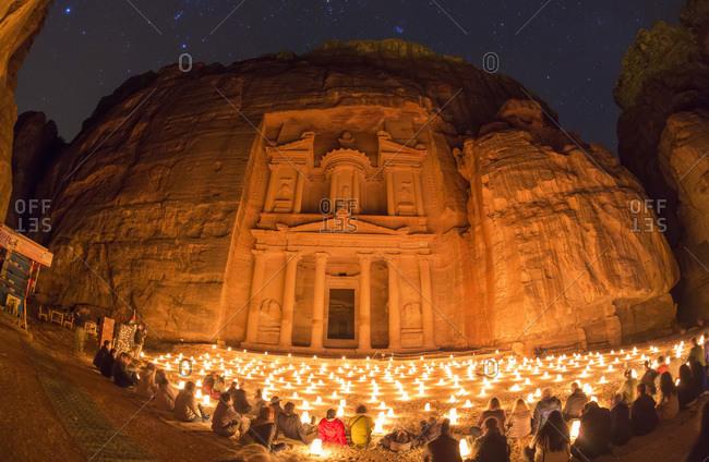 The Treasury, at night lit by candles, Petra, Jordan