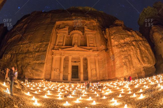 Night scene of The Treasury Temple in Petra, Jordan