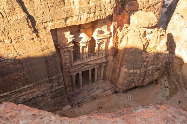 Elevated view of The Treasury, Petra, Jordan