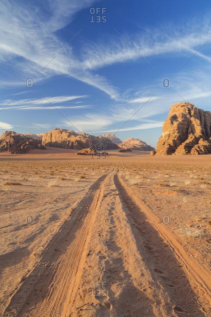 Road to the Mountains of Wadi Rum, Jordan