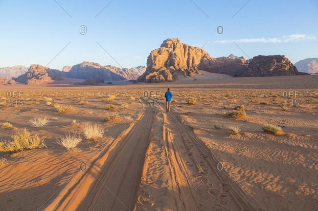 Scenic view of the Mountains of Wadi Rum, Jordan
