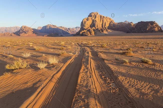 Tracks in the desert, Wadi Rum, Jordan