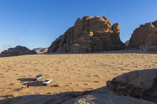 Travel in Wadi Rum desert by car, Wadi Rum, Jordan