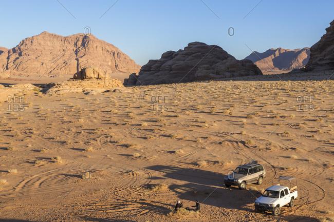 Cars in Wadi Rum desert, Jordan