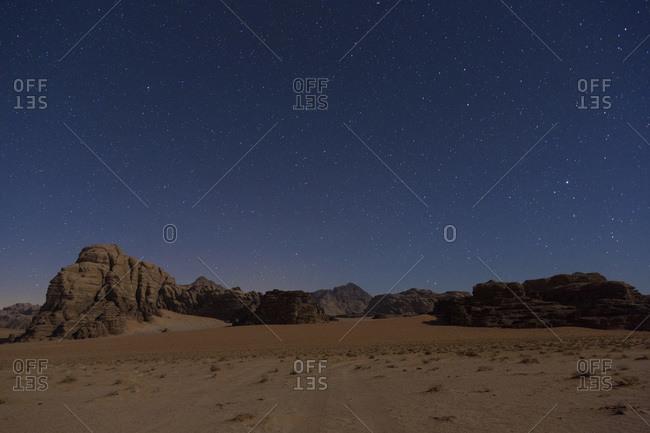 Starry sky, Wadi Rum desert, Jordan