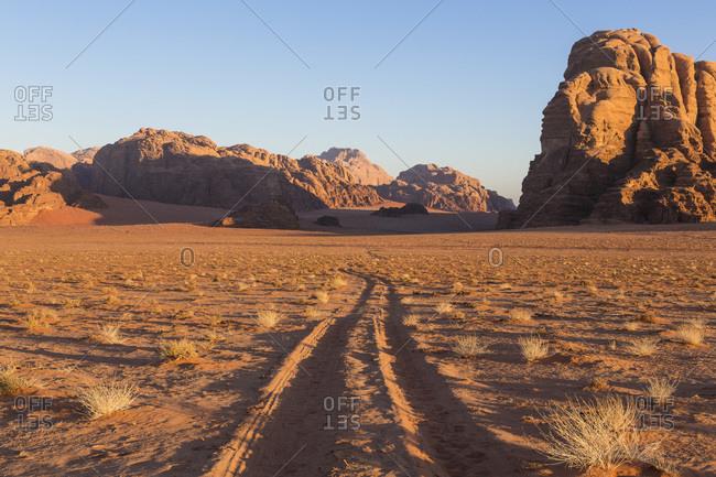 Landscape of Mountains of Wadi Rum, Jordan
