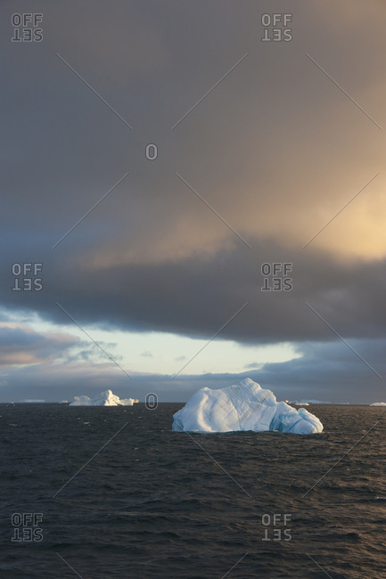 Icebergs on the waters of the Weddell Sea in the Southern Ocean at sunset