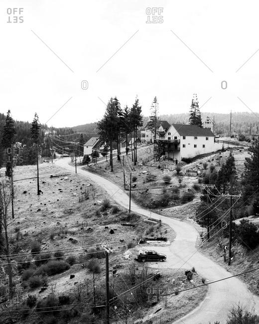 High angle view of a rural neighborhood