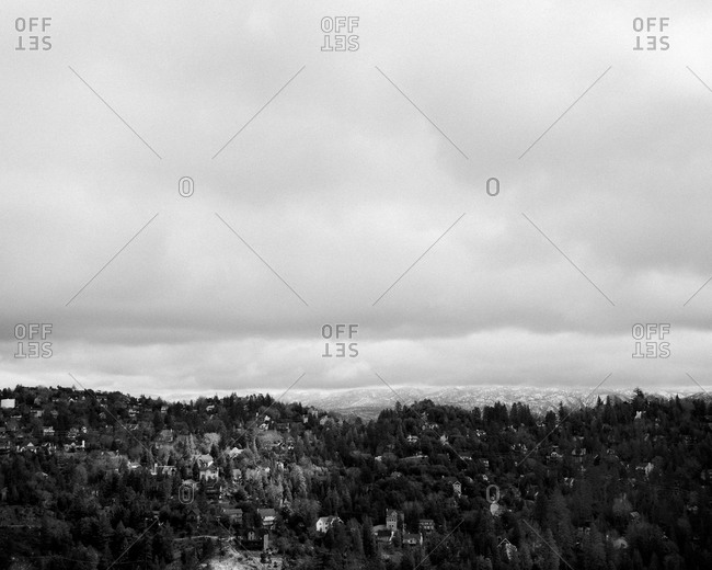 View towards mountains under an overcast sky