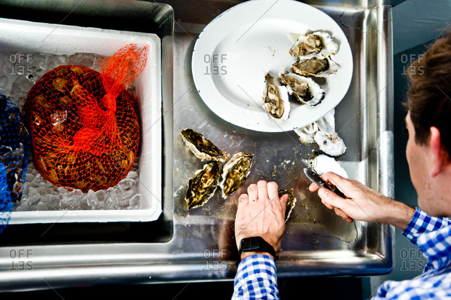 Overhead view of man halving oysters