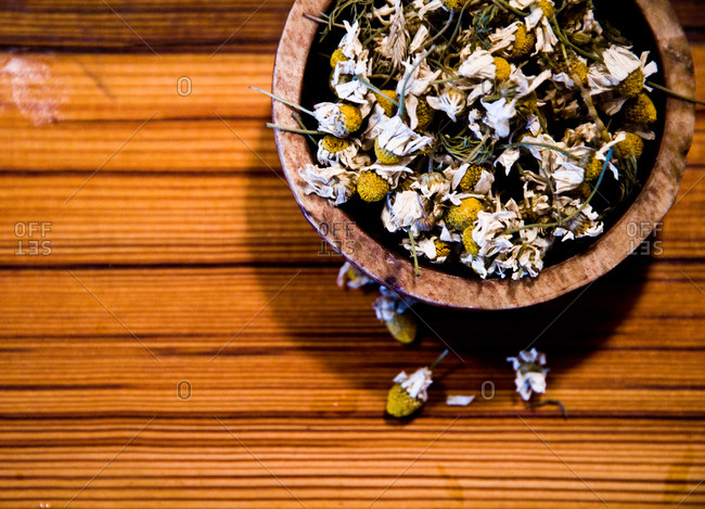 Dried chamomile in wooden bowl