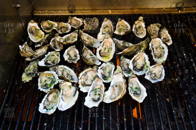Oysters with cayenne butter on a grilling grid