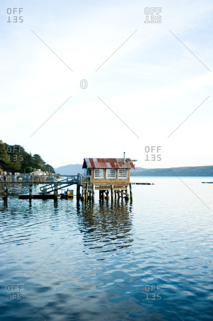 Dock house at the end of a pier