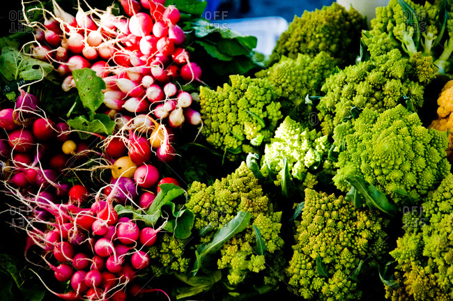 Romanesco broccoli and radish at a farmer's market in Point Reyes