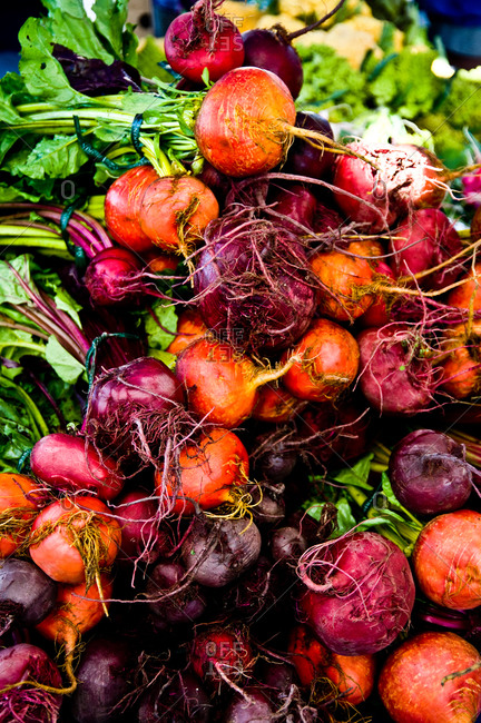 Beets for sale at a farmer's market in Point Reyes