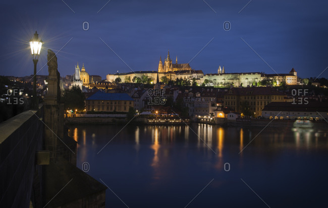 View from Charles Bridge to Prague Castle at night