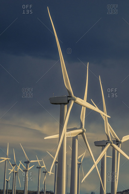 Wind turbines at sunset in Tehachapi Pass, California