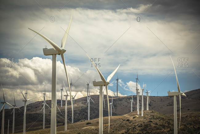 Wind turbines of a wind farm in Tehachapi Pass, California