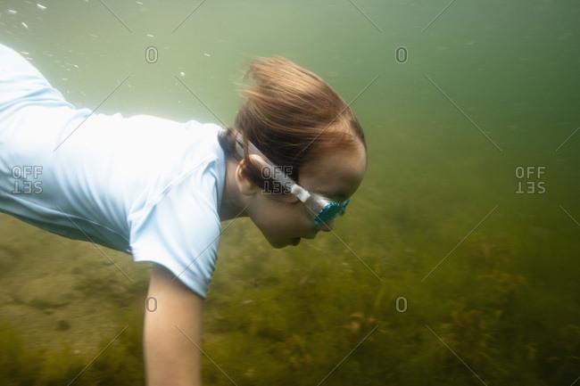Side view of boy swimming underwater