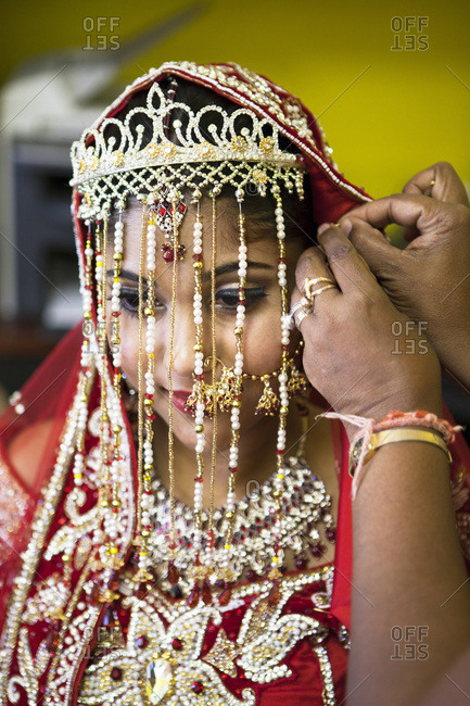 Hindu woman getting ready for wedding, Toronto, Ontario, Canada