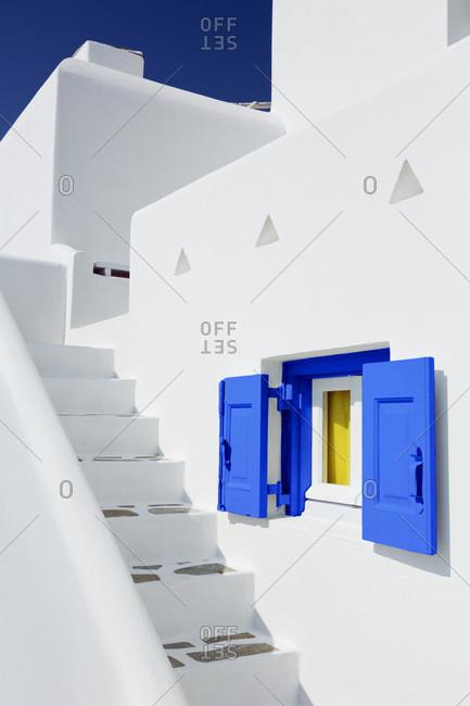 Window with blue shutters and stairs, Chora, Mykonos Town, Mykonos, Cyclades Islands, Greek Islands, Greece, Europe