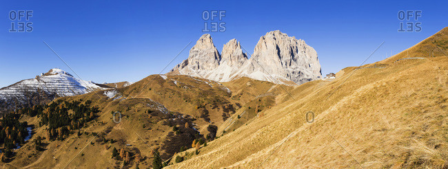 Langkofel Group with Grohmannspitze at Sella Pass in Autumn, Dolomites, South Tyrol, Italy