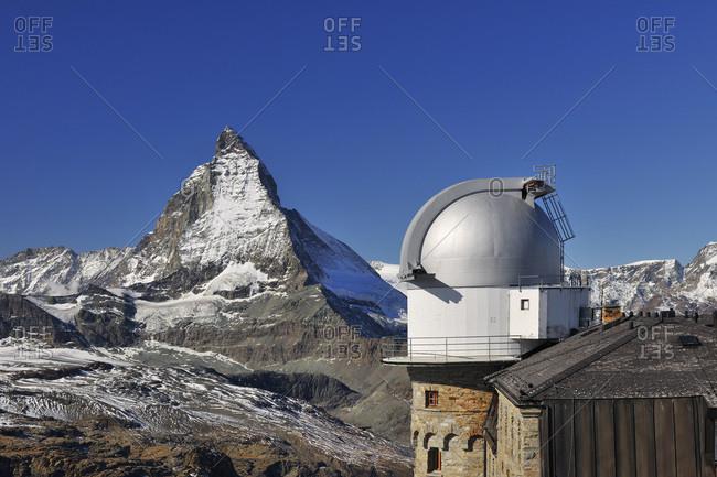 Gornergrat Astronomical Observatory and Hotel with Matterhorn, Zermatt, Alps, Valais, Switzerland