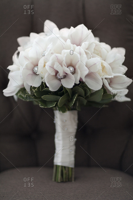 Close-up of wedding bouquet with gem stones, Canada