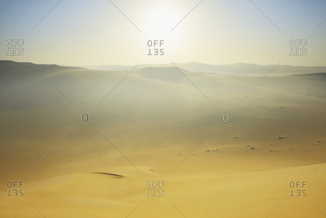 Sun over sand dunes with morning mist, Matruh, Great Sand Sea, Libyan Desert, Sahara Desert, Egypt, North Africa, Africa