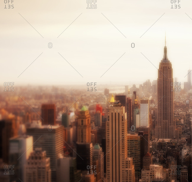 New York City, New York, USA - March 14, 2014: Overview of Central Manhattan with the Empire State Building