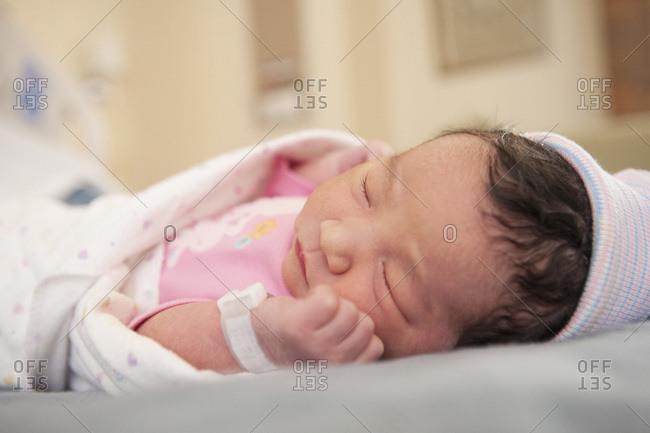 Newborn baby girl in hospital