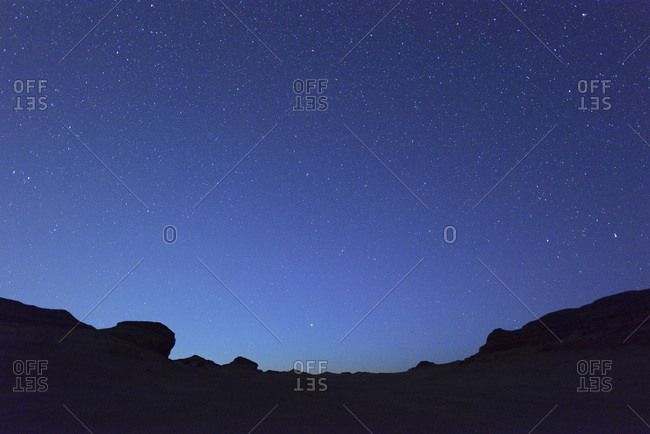 Starry sky in desert at night, Matruh Governorate, Libyan Desert, Sahara Desert, Egypt, Africa