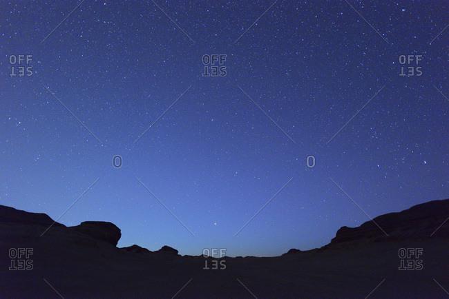 Starry sky in desert at night, Matruh Governorate, Libyan Desert, Sahara Desert, Egypt, Africa