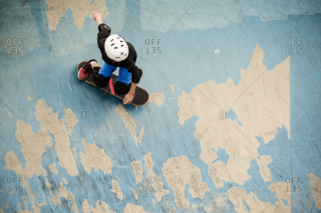 Top view of a skater in a park