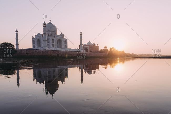 Sunset behind the Taj Mahal, Agra, India