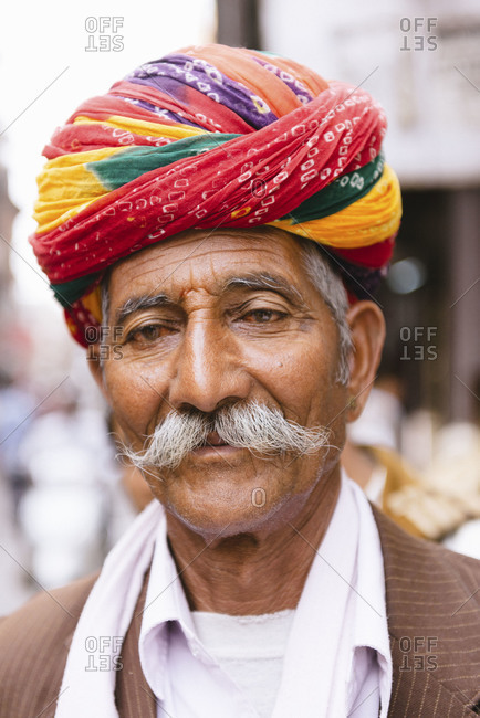 Rajasthan, India - February 1, 2013: Portrait of an elderly Indian man