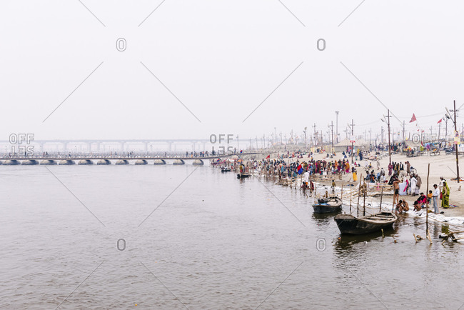 Kumbh Mela, India - February 5, 2013: One of the temporary bridges during the holy festival