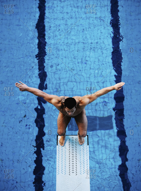 February 24, 2011: Man standing on a diving board