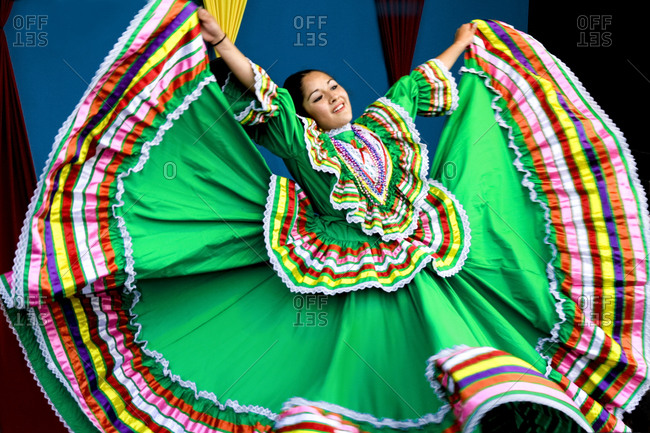 Santa Fe, New Mexico, USA - September 5, 2009: Woman wearing traditional Mexican dress