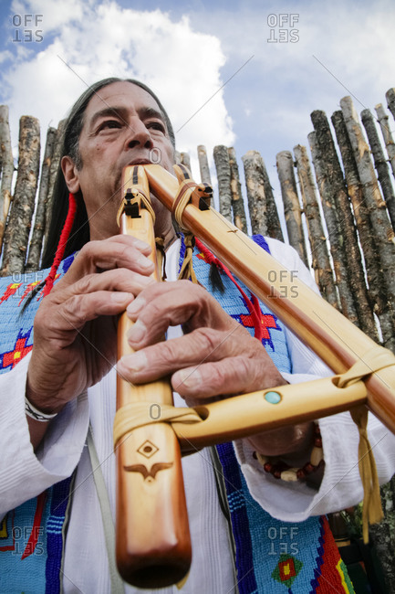 Santa Fe, New Mexico, USA - August 5, 2009: Native American flute player