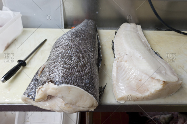 A Chilean Sea Bass being prepared for market