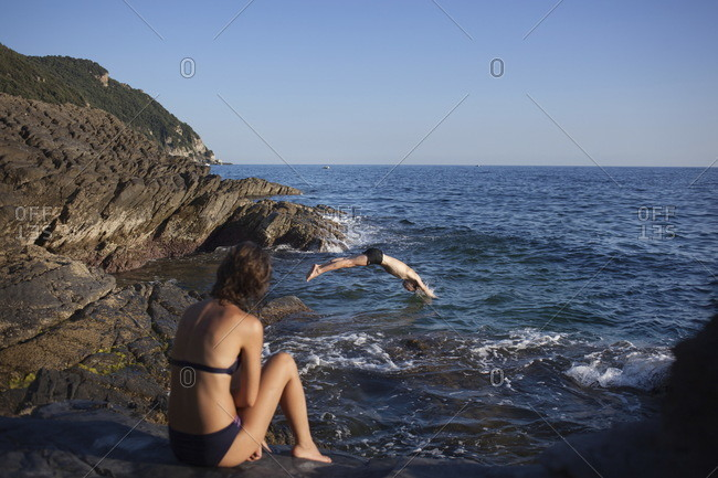 People swimming in Sestri Levante in Italy