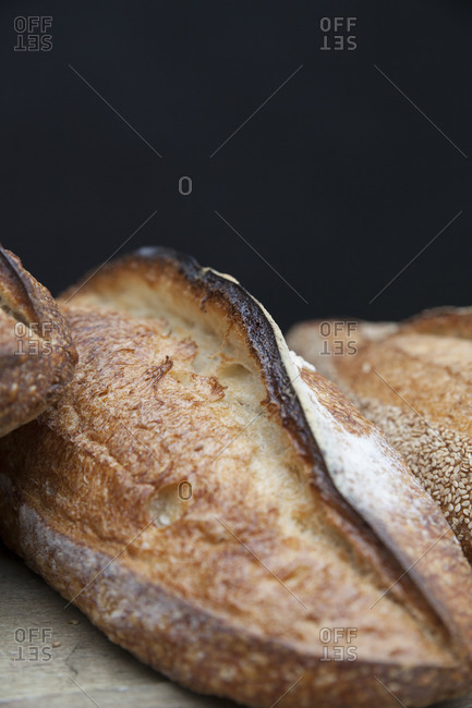 Golden brown baguette