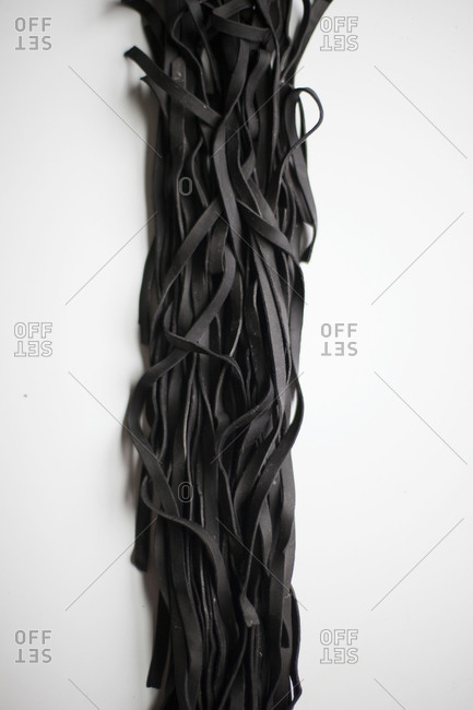 Raw squid ink pasta