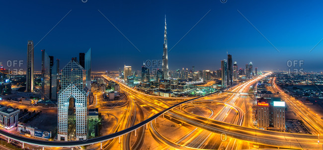 Busy interchange in Dubai with the Burj Khalifa in the background